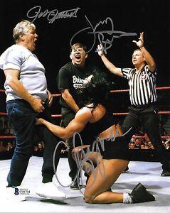 Pat Patterson Gerald Jerry Brisco & Chyna Signed WWE 8x10 Photo BAS Beckett COA