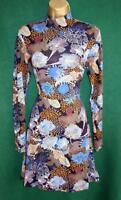 New H&M Blue Mustard Floral Stretch Jersey Long Sleeve Fit&Flare Dress Uk14 Medm