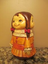 Vintage 3-Sided Expression Girl Piggy Bank w/ Stopper - Happy, Sad, Angry