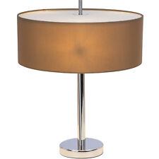 TABLE LUMINAIRES LAMPES tissu abat-jour souple CHROME marron clair Andria la vie