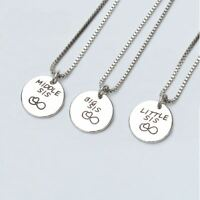 *UK Shop* Silver 'BIG MIDDLE LITTLE SIS' Necklace Friends Forever Baby Sister
