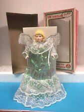 "Nos Vintage Commodore 10"" Porcelain Blonde Angel Tree Topper in Original Box Nib"