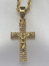"""18ct Gold gf  Crucifix Stone Studded Cross Iced Out  24"""" Rope Chain"""