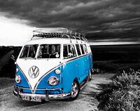 VW Camper Van Blue Canvas Stretched Wall Art Poster Print Surfing Campervan Car