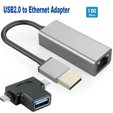 2 in 1 OTG Converter with USB2.0 to Ethernet RJ45 Network Adapter 100/10 Mbps