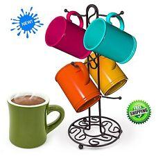 Mug Tree Holder 6 Cups Bronze Coffee Tea Cup Rack Storage Stand New