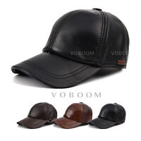 Men's Full Grain 100% Genuine Leather Hat Winter Warm Cowhide Baseball Cap Hats