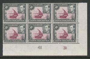 K.U.T. 1938-54 George VI 50c in Plate block 4A-3A SG 144e Mint.