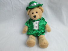 ST PATRICKS DAY TEDDY BEAR GREEN BEST WISHES CLOVER 22 USA STAMP 2007 PLUSH TOY