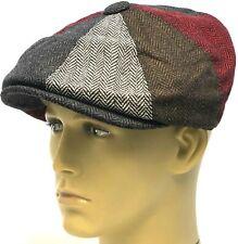 Peaky Blinders Hat Newsboy Gatsby Cap Herringbone Patchwork Baker Boy 25% Wool