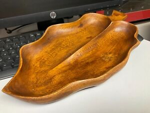"""Vintage Wooden Bowl Dish / Tray Made From Solid Wood Shaped Like A Leaf 15"""" x 8"""""""