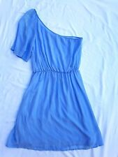 AS NEW Bardot Size 10 Dress One shoulder Short Sleeve Mini Blue 70's Chic Boho