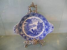 CAULDON CHARIOTS UNUSUAL SHAPE ANTIQUE VINTAGE BLUE AND WHITE TRANSFER DISH BOWL