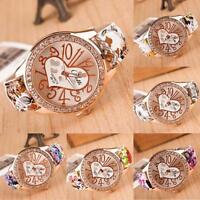 Women Chic Love Heart Pattern Flower Leather Band Quartz Analog Wrist Watch Gift