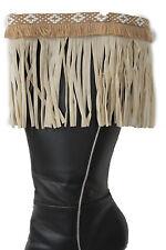 Western Women Winter Boot Toppers Beige Fabric Long Fringe Knee High White Cross