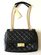 NWT Michael Kors Hannah Shoulder Flap Bag Quilted Leather Crossbody Black $298