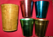 4 x Aluminium Anodised Cups in Kangaroo Leather Manufactured by Hickok Australia