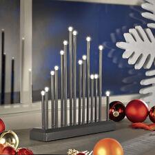 LED Stimmungsleuchte Adventsleuchter Metall Fenster Tischleuchter Grau SL32-1