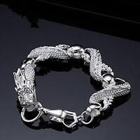 "Cool 925Sterling Silver White China Dragon Strong Men Chain Bracelets 7.5"" H036"
