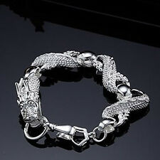 "Cool 925Sterling Silver White China Dragon Strong Men Chain Bracelets 7.5"" H036"