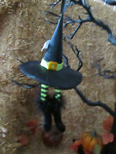 Simply Fall Witch Hat with Green & Black Stripe Legs & Shoe Ornament, New