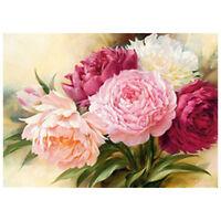 5D Full Diamond Embroidery Peony flowers Round Painting Cross Stitch Kits Z6T6
