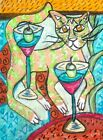 Cat Dancing around Martinis Folk Art Print 4 x 6 Vintage Style Signed by Artist