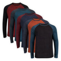 Men Casual Classic Jersey Long Contrast Sleeve T-Shirt Crew Neck Top Sweatshirt