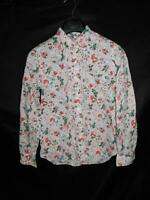 Gap M White Pink Blue Floral Fitted Boyfriend Shirt Long Sleeve Cotton Button Md