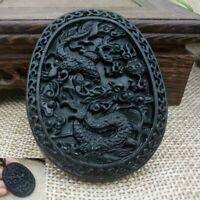 Chinese Natural Black Green Jade Dragon Hand Carved Jade Pendant  Amulet Gift #J