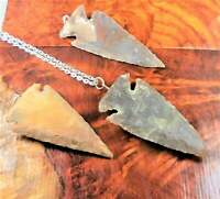 Arrowhead Necklace - Raw Jasper Pendant - Carved Gemstone Earrings (CC14)