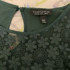 Topshop Green Cotton Embroided lace top UK 8