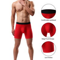 Sports Mens Boxer Briefs Cotton Boxer Trunk Long Leg Underwear With Pouch Short