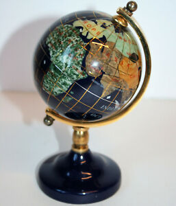 """Vintage Kalifano Natural Gemstone Globe with Blue Lapis Oceans, on Stand 5.5"""""""