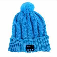 Bluetooth Mütze Zipfelmütze hell blau Kopfhörer Drathlos Headset Strickmütze