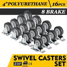 "16 Heavy Duty Caster Set 4"" Wheels All Swivel 8 Brake Casters Non Skid No Mark"