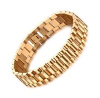 Luxury 18K Gold Filled Men Heavy Stainless Steel Bracelet Link Chain Uk Seller