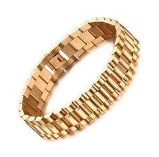 Luxury 18K Gold Filled Men Heavy Stainless Steel Bracelet Link Chain Uk Seller