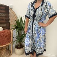 Vintage 80's 90's Funky Blue Abstract Floral Pattern Floaty Sz 10 12 14