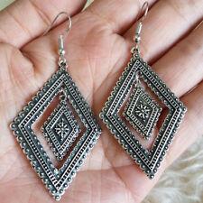 Dangle Drop Hook 5 cm Earrings New Vintage Womens Antique-Tone Patterned Rhombus