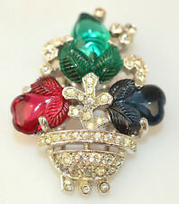 CROWN TRIFARI ALFRED PHILIPPE 1941 FRUIT SALAD FUR OR DRESS CLIP PIN RHINESTONES