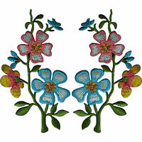 Pair of Pink Blue Flower Patches Iron On Sew On Embroidery Patch Badge Appliques