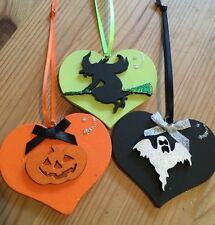 3 Halloween Decorations Handmade Hanging Witch Pumpkin Ghost Orange Green