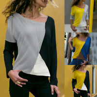❤️ Womens Long Sleeve Patchwork T Shirt Ladies Casual Loose Pullover Blouse Tops