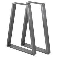 2 Pieds de table en Acier Style Trapèze Fini Acier Brut, 250mm x 500mm x 710mm
