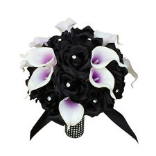 "10"" Bouquet-Black silk rose,real touch calla lily w/purple center.rhinestone"