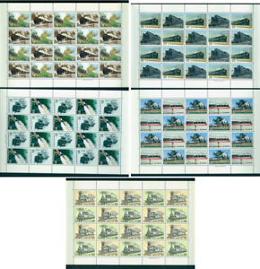 JAPAN 1974 - 75  TRAINS -  STEAM LOCOMOTIVES  - MINT MNH** set in FULL SHEETS