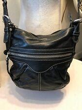 Fossil handbag black leather crossbody messenger bag