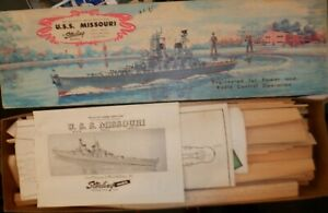 Vintage Sterling Models USS Missouri Battleship #63 Wood Model Kit #B17M