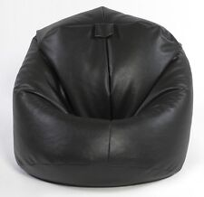 BLACK XL FILLED FAUX LEATHER BEANBAG BEAN BAG BEANBAGS